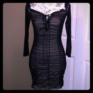 Black and Tan mesh stretchy dress
